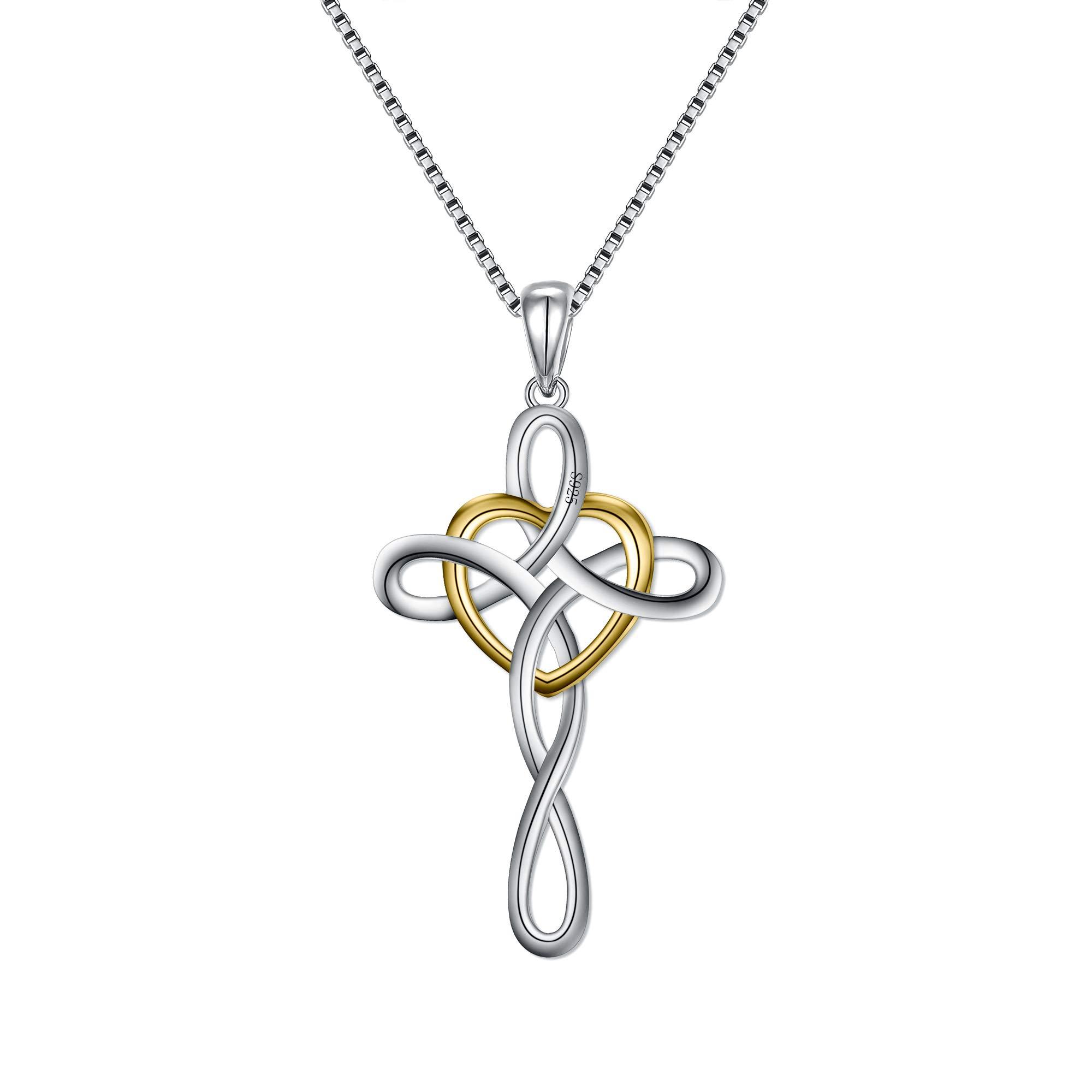FANZE Women's 925 Sterling Silver Cross Eternal Irish Celtic Endless Knot Pendant Necklce-Birthday Gift For Girls, Rolo Chain 18''