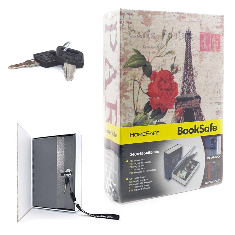EIOU 9.4*6.3* 2.3 inches Eiffel Tower safe box ,Book Safe with Key Lock, Metal