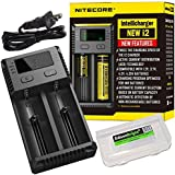 NITECORE i2 Intellicharge Universal Smart battery Charger Bundle with 2 EdisonBright AA to D type battery spacer/converters