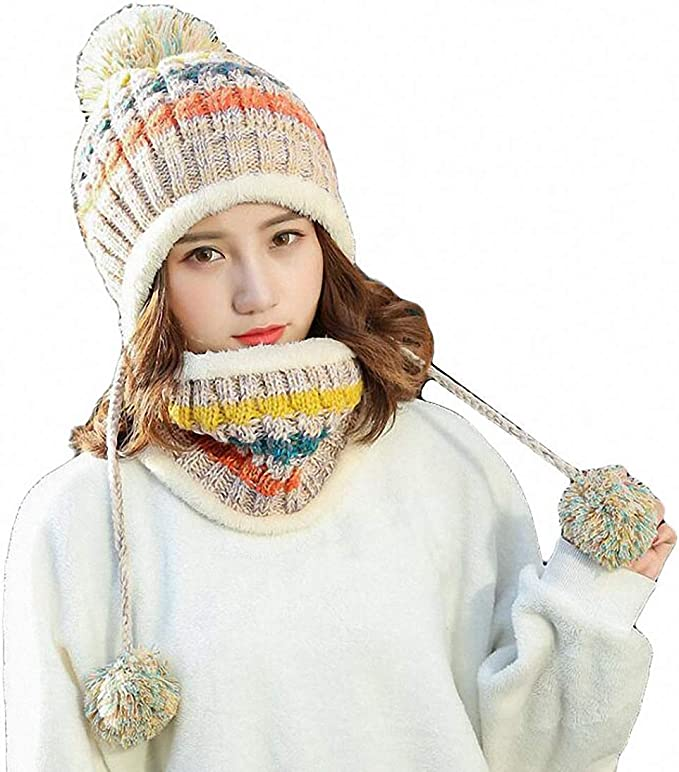 Ladies Girls Winter Warm Chunky Fur Outdoor Beanie Wool Hat Cap /& Scarf Gift UK