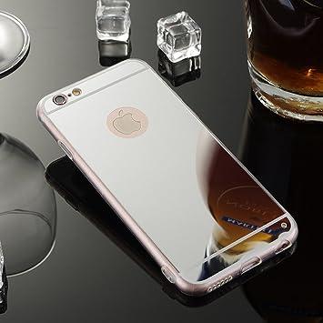 Sycode - Funda con espejo para iPhone 8/7, cubierta de espejo TPU suave para iPhone 7, funda de silicona reflectante, a prueba de golpes, espejo con ...