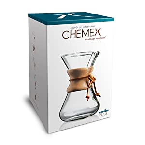 Chemex Hand Blown Glass Coffee Maker with Wood Collar and Tie, 5 cup capacity.