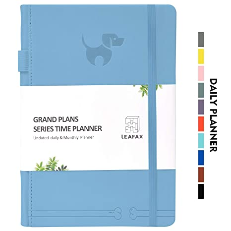 """Undated Daily Planner-Agenda Book, Hourly/Day/Weekly/Monthly Planner,240 pages 5.8""""x8.2"""" A5 - Leather Hardcover, 100gsm Thick Paper, Inner Pocket- ..."""