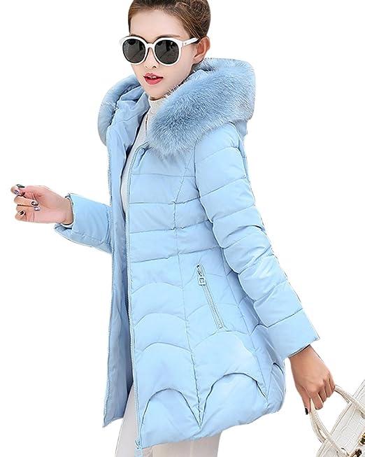ZhuiKun Chaqueta Abrigo Pelo Collar de Invierno con Capucha para Mujer Lago Azul XL: Amazon.es: Ropa y accesorios
