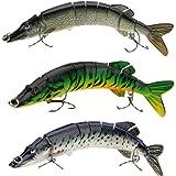 Lixada 8/20 cm 66 G esche da pesca dura esche multi snodato 8 segmenti Pike Muskie Swimbait Crankbait Pesce Treble Hook Tackle, 3 Stücke