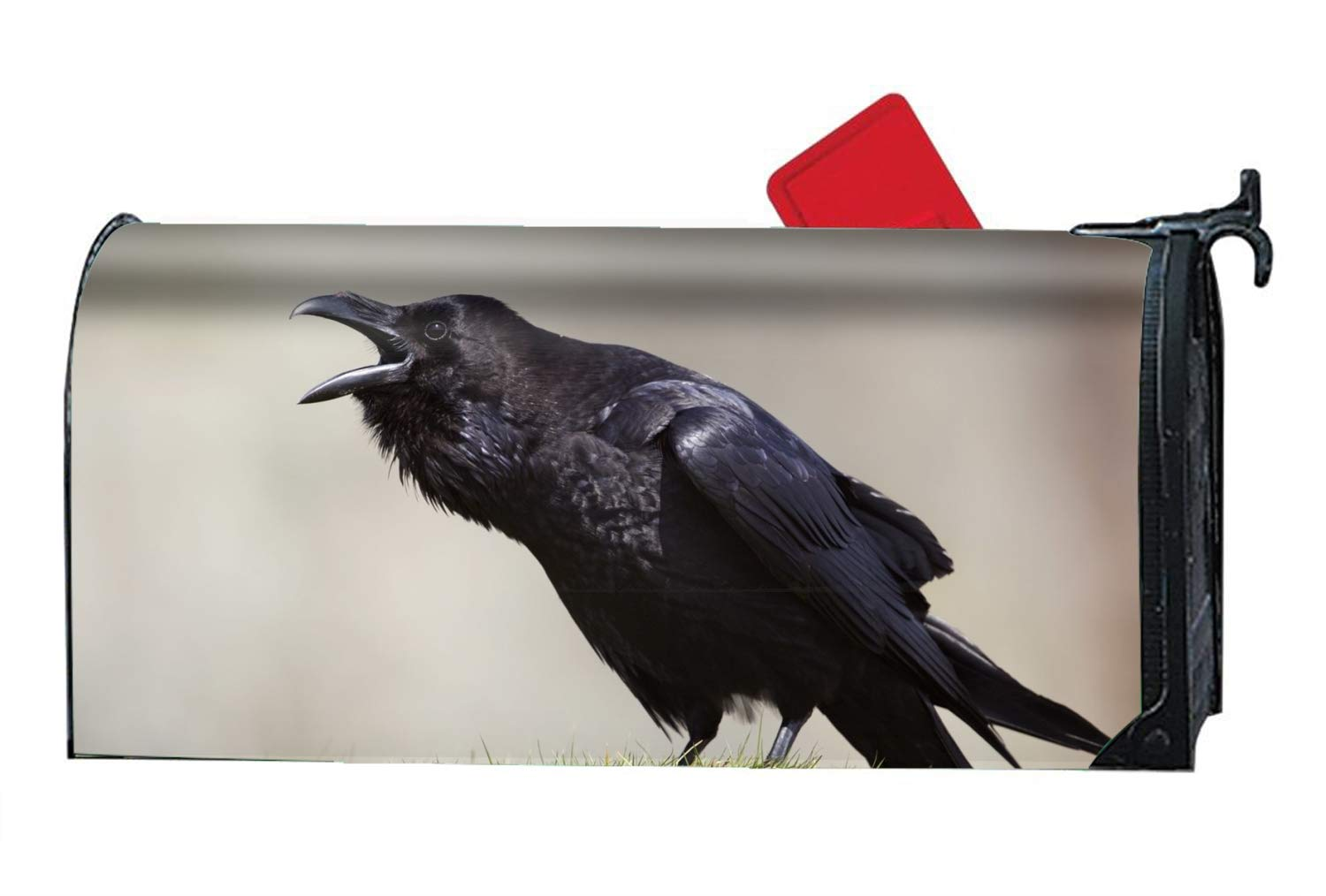 MAILL Animal Raven Birds Crows Bird Black Magnetic Mailbox Cover - Glow Decorative Vintage Vinyl Mailbox Wrap for Standard Size by MAILL