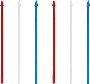 Patriotic Arrow Picks, 100 Red White Blue Plastic Toothpicks, 3.5
