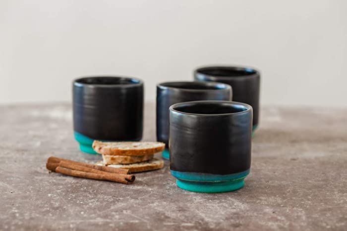 bd8f76b11bf Black and Turquoise Glazed Handmade Natural Clay Ceramic Espresso Cup Set  Of 4, Modern Design, Dishwasher Safe, Artisan Pottery Wedding Gift Idea, 6  Oz