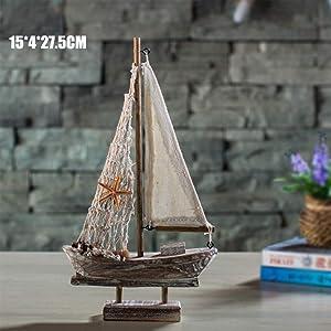 New Home Furnishing Mediterranean Retro Sailing Wooden Boats Model Ornament Room Decoration Accessoriess