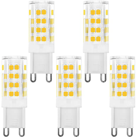 kindeep G9 luz bombilla LED para baño, 40 W equivalente, 5-pack