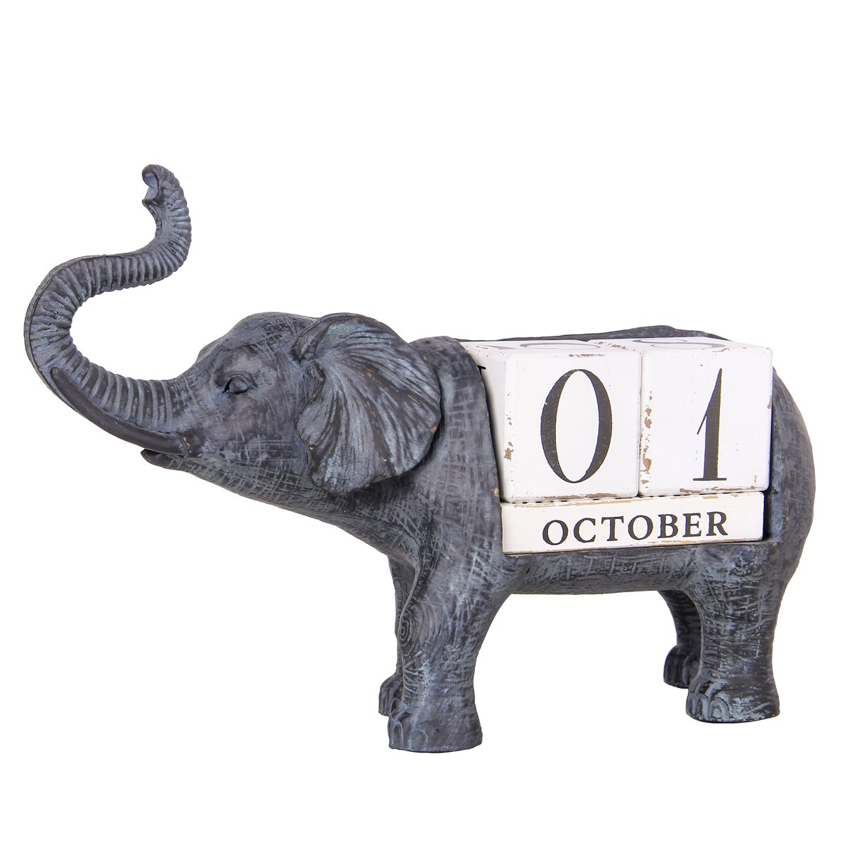 Nikky Home Vintage Elephant Wooden Perpetual Desk Calendar Blocks, Black