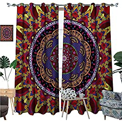 Mandala Blackout Window Curtain Vintage Style Wedding Invitation Card with Mandala Motif Flower Illustration Customized Curtains W72 x L96 Maroon and Red