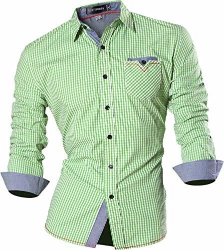Sportrendy Men Slim Plaid Button Down Long Sleeves Dress Shirt MAJ011 Green (Checkered Shirt Costume)