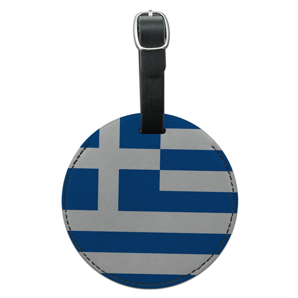Black Graphics /& More Greece National Country Flag Round Leather Luggage Id Tag Suitcase Carry-on