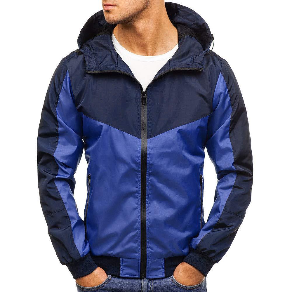 PASATO Mens Autumn Winter Zip Casual Long SLeeve Slim Pocket Fit Hoodies Jacket Coat(Blue, 2XL)