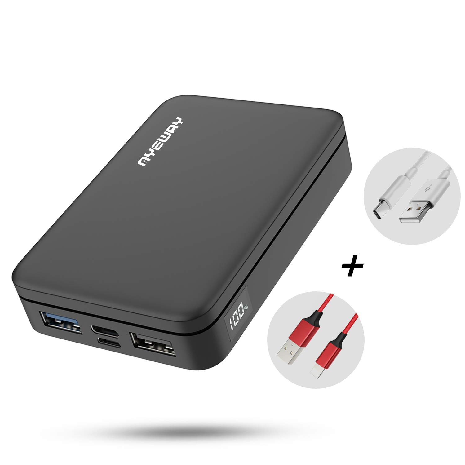 Power Bank 10000mAh Portable Charger with Dual High Speed Charging outputs,External Battery Pack with Visible LCD Screen,Compact Charging Bank Compatible with iPhone,Samsung Galaxy,ipad and More. by Ayeway