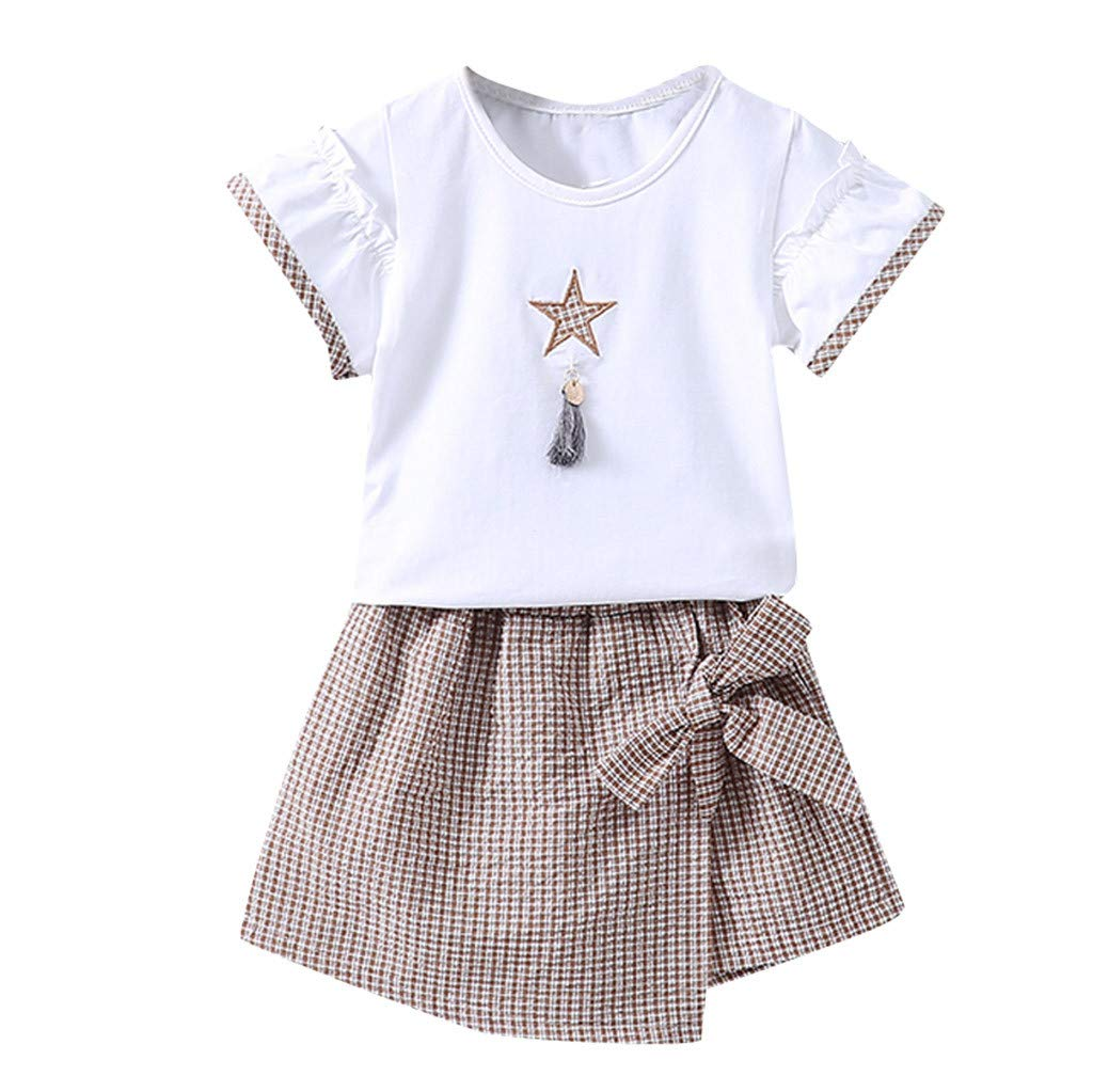 Summer Comfy Clothes Set for Baby Girl Short Sleeve Printed Plaid Strap Irregular Skirt 2Pcs (Khaki, Recommended Age:6-12 Months)