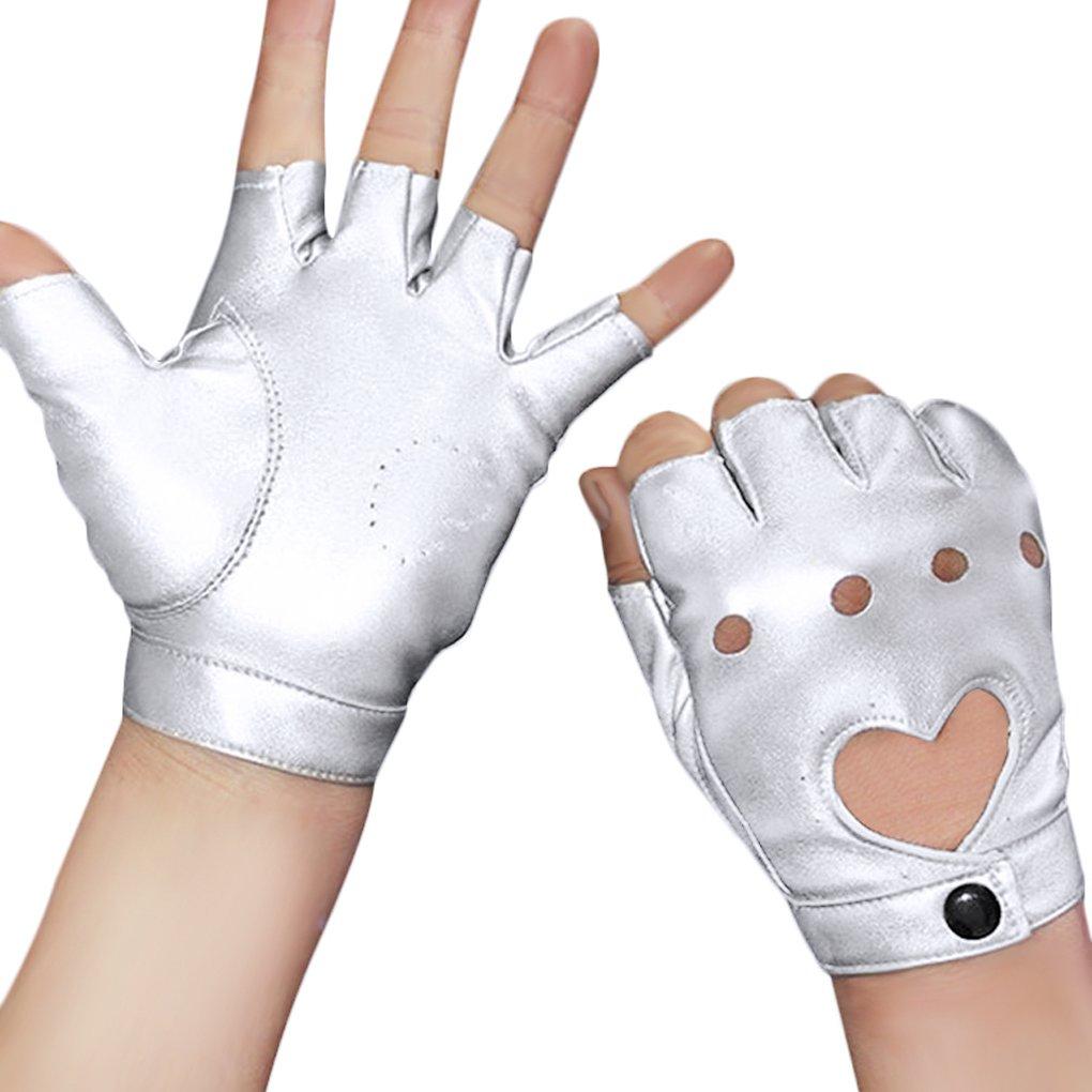 Damen Herren Fingerlos Handschuhe Punk Hip Hop Handschuhe Fäustlinge aus PU Leder für Bühnenauftritte, Party, Club, Festivals, Weihnachten, Leopard, One Size