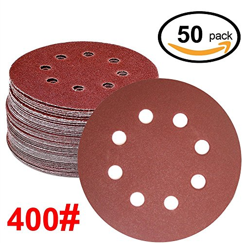 WINGONEER 50PCS Sanding Discs Pads, 5-Inch 8-Hole 400-Grit Hook and Loop Aluminium Oxide Sandpaper for Random Orbital Sander (Hook 400 Grit)