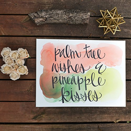 Beach Fiesta Palm Tree wishes & pineapple kisses Watercolor Canvas Quote Art
