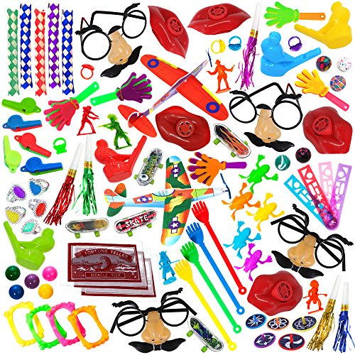 Party Favor Toy Assortment Pack of 100 Pc, Includes a Wide Range of Mid-size and Small Toys, Small Prizes, for Party Favor Bags, School Classrooms, and Carnivals, (Exclusively Sold By: ()