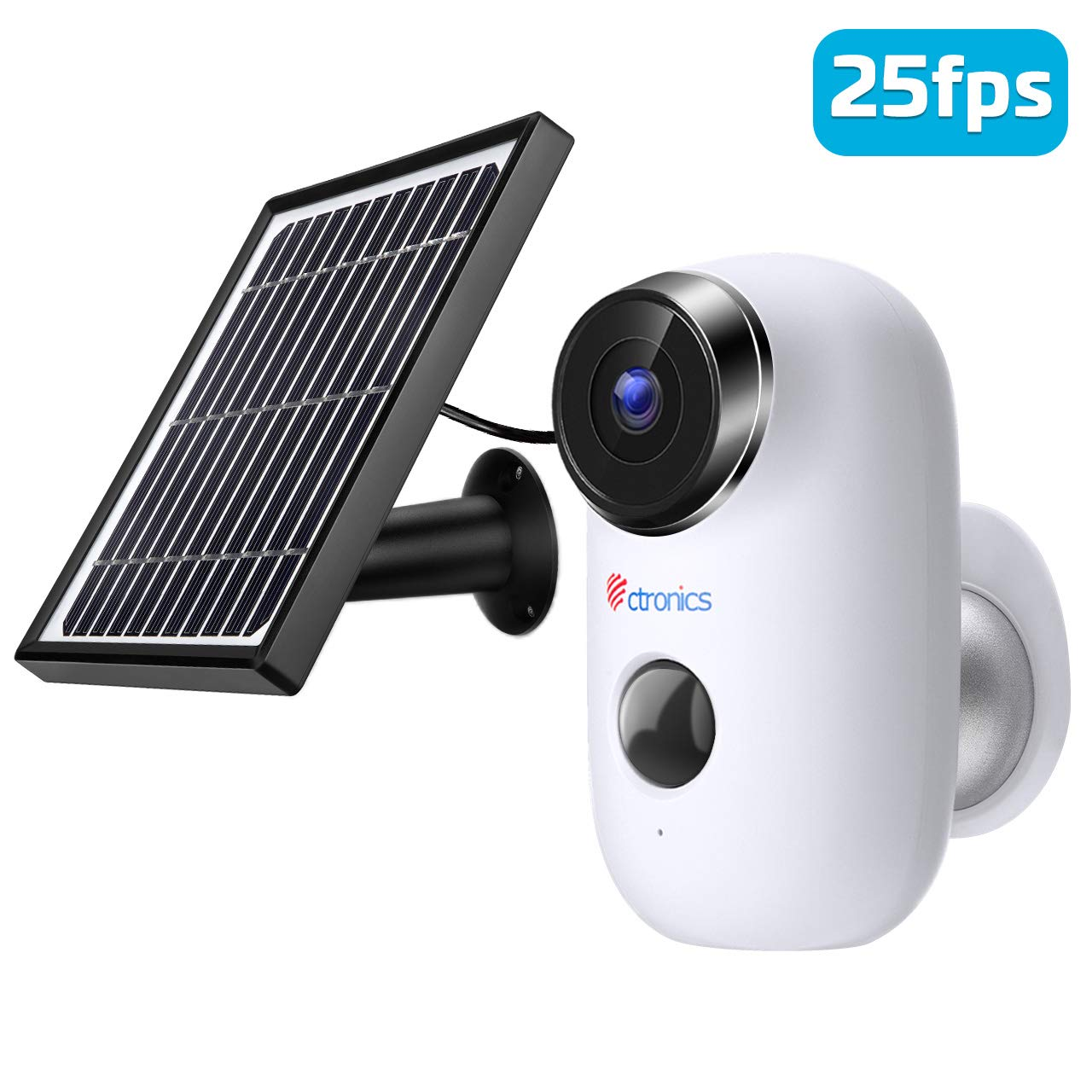 25fps Wireless Rechargeable Battery-Powered Solar Security Camera for Home Outdoor/Indoor, Ctronics WiFi Security Camera System with 1080P HDR, PIR Motion Detection, Night Vision, 2-Way Audio, IP66 by Ctronics