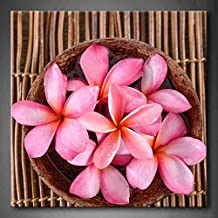 First Wall Art - Pink Many Pink Frangipani In Bowl On Bamboo Mat Wall Art Painting The Picture Print On Canvas Flower Pictures For Home Decor Decoration Gift (Stretched By Wooden Frame,Ready To Hang)