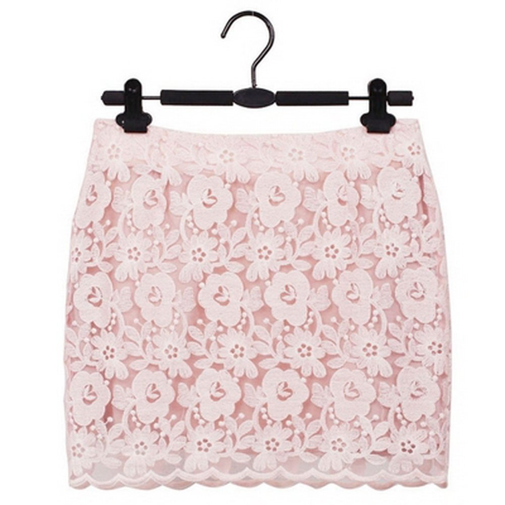 M PANDA SUPERSTORE Pink Floral Lace Mini Skirt for Women