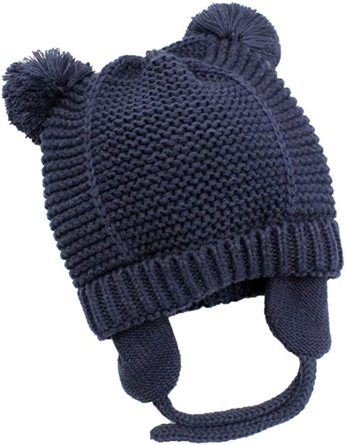 Miyanuby Baby Girls Boys Winter Knitted Warm Pom Pom Hats Beanie Cap for Outdoor 3-6Y