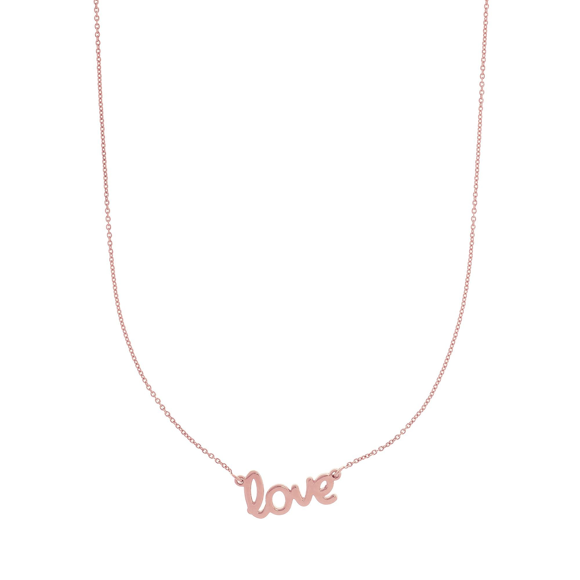 14k Yellow Gold Shiny Flat Scripted Medium ''love'' on Round Rolo Chain with Lobster Clasp