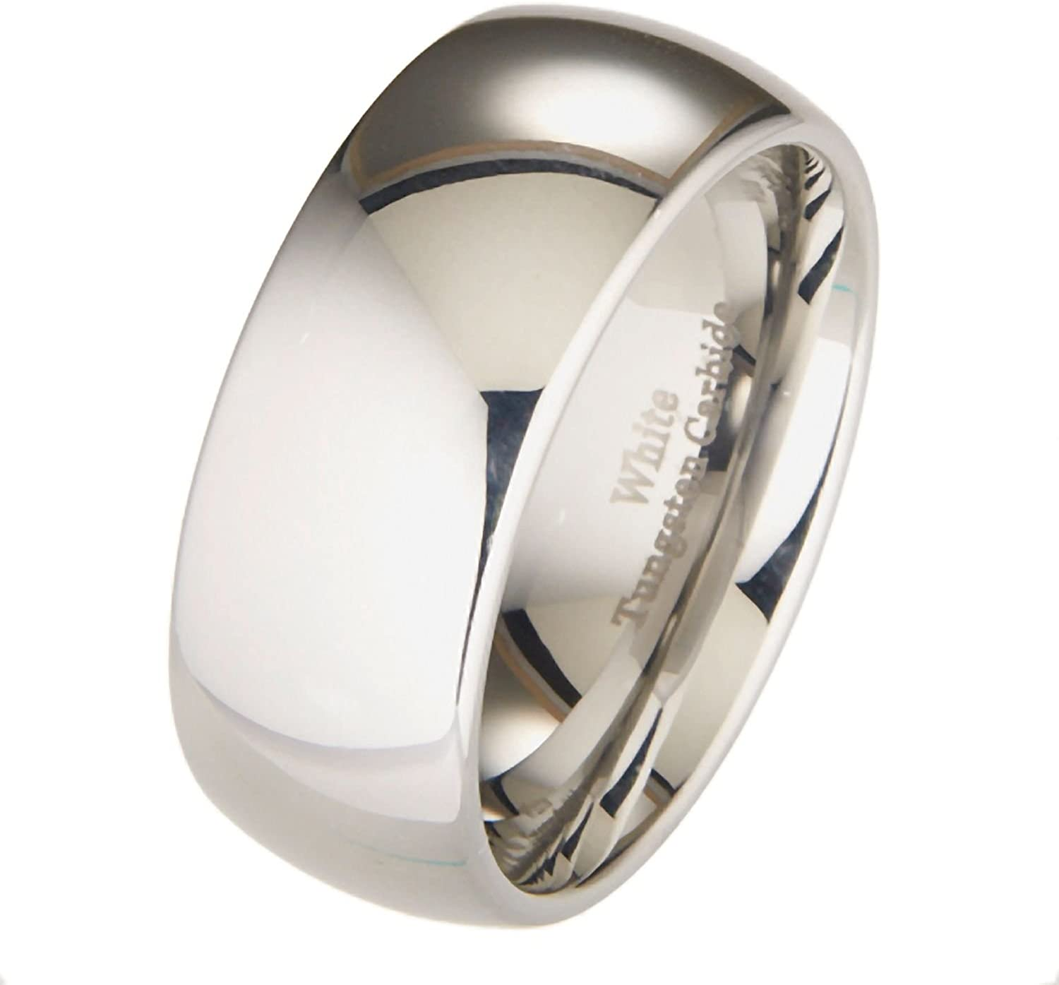 MJ Metals Jewelry Custom Engraved White Tungsten Carbide Wedding Ring Polished Classic 3mm to 10mm