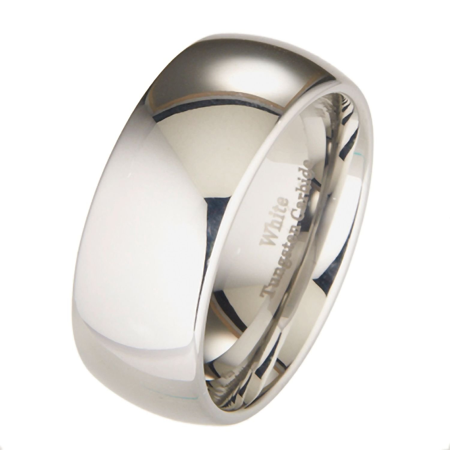 MJ Metals Jewelry Custom Engraved 10mm White Tungsten Carbide Polished Wedding Ring Size 12