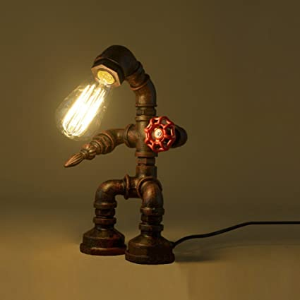 RUXUE Retro Robot Water Pipe Desk Bedside Lamp Industrial Table Reading Light Lighting Fixture Without Bulb