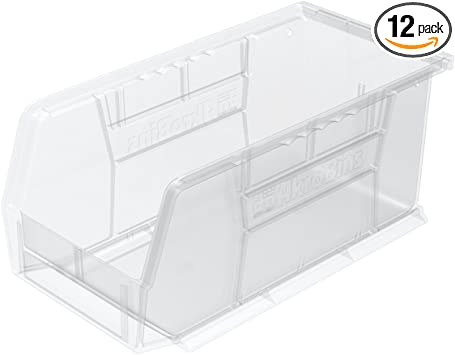Black 11-Inch by 11-Inch by 5-Inch Case of 6 Akro-Mils 30235 Plastic Storage Stacking Hanging Akro Bin