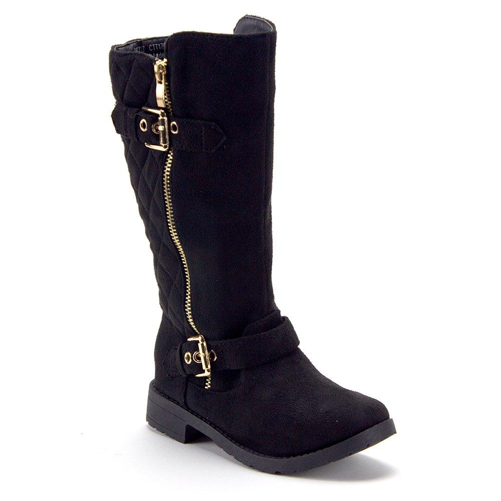 J'aime Aldo Little Girls Tall Knee High Quilted Zipped Riding Dress Boots, Black, 4