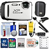 Fujifilm FinePix XP130 Shock & Waterproof Wi-Fi Digital Camera (White) 32GB Card + Battery + Cases + Float Strap + Selfie Stick + Kit