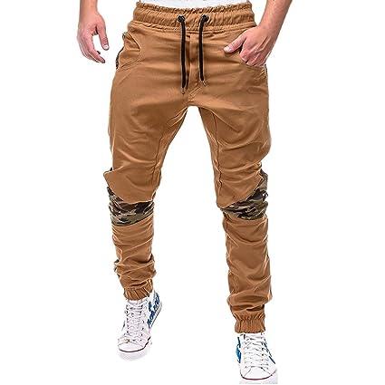 LuckyGirls Pantalones Hombres Chandal Camuflaje Patchwork Color de Hechizo Casuales Slim Fit Playa Ajustable Pantalón de