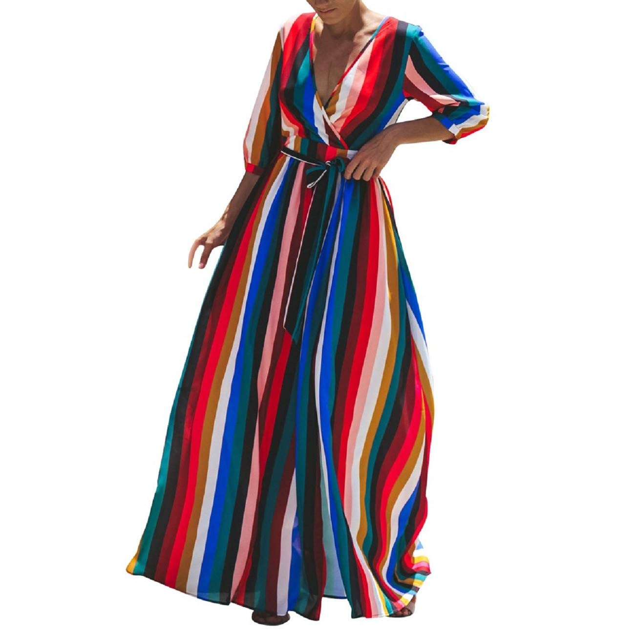 Womens Summer Dress Casual Color Striped Maxi Dress Seven-Quarter Sleeve Slit Side Long Dress with Belt by FAPIZI