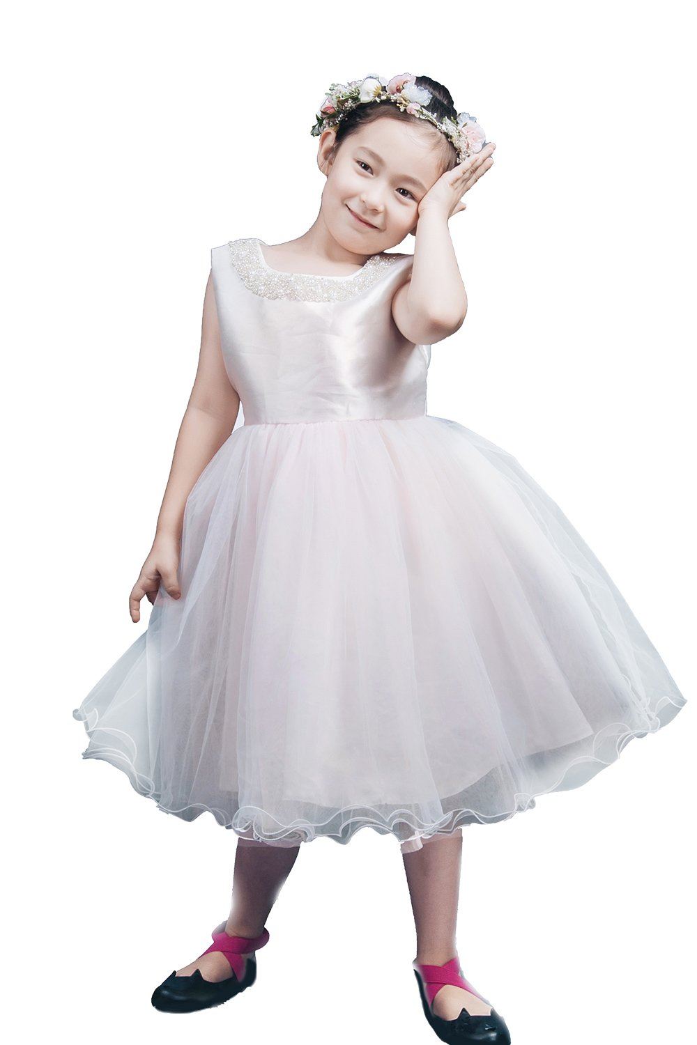 Saint Toi Satin Lace Flower Girl Wedding Dress Gorgeous Princess Gown (custom, silver pink)