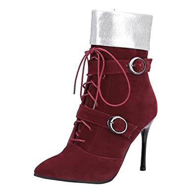 YE Damen Ankle Boots Stiletto High Heels Spitze Stiefeletten