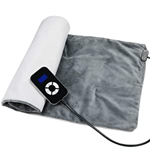"Sooswel Far Infrared Heating Pad for Moist and Dry Heat Therapy, 14""*26""King Size Electric Heating Wrap with LCD Controller for Back,Neck,Shoulder,Knee Pain Relief"