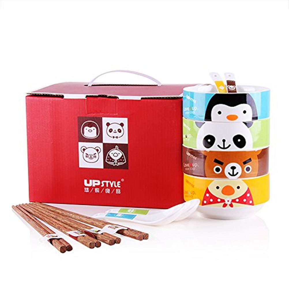 UPSTYLE Cute Cartoon Ceramic Soup Bowl Big Capacity Coffee Mug Animal Pattern Tea Cup Travel Mug with Bamboo Lid and Handle for Rice/Salad/Instant/Noodle/Vegetables Fruit (Bowl Spoon Set)