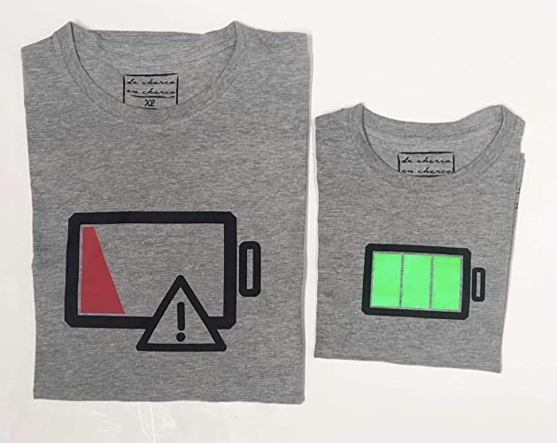 PACK Camisetas M/C Battery (Adulto + Niño/Niña o Bebé): Amazon.es: Handmade