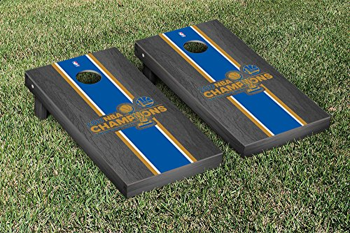 Golden State Warrirors 2017 NBA Champions Cornhole Game Set Onyx Stained Stripe Version by Victory Tailgate