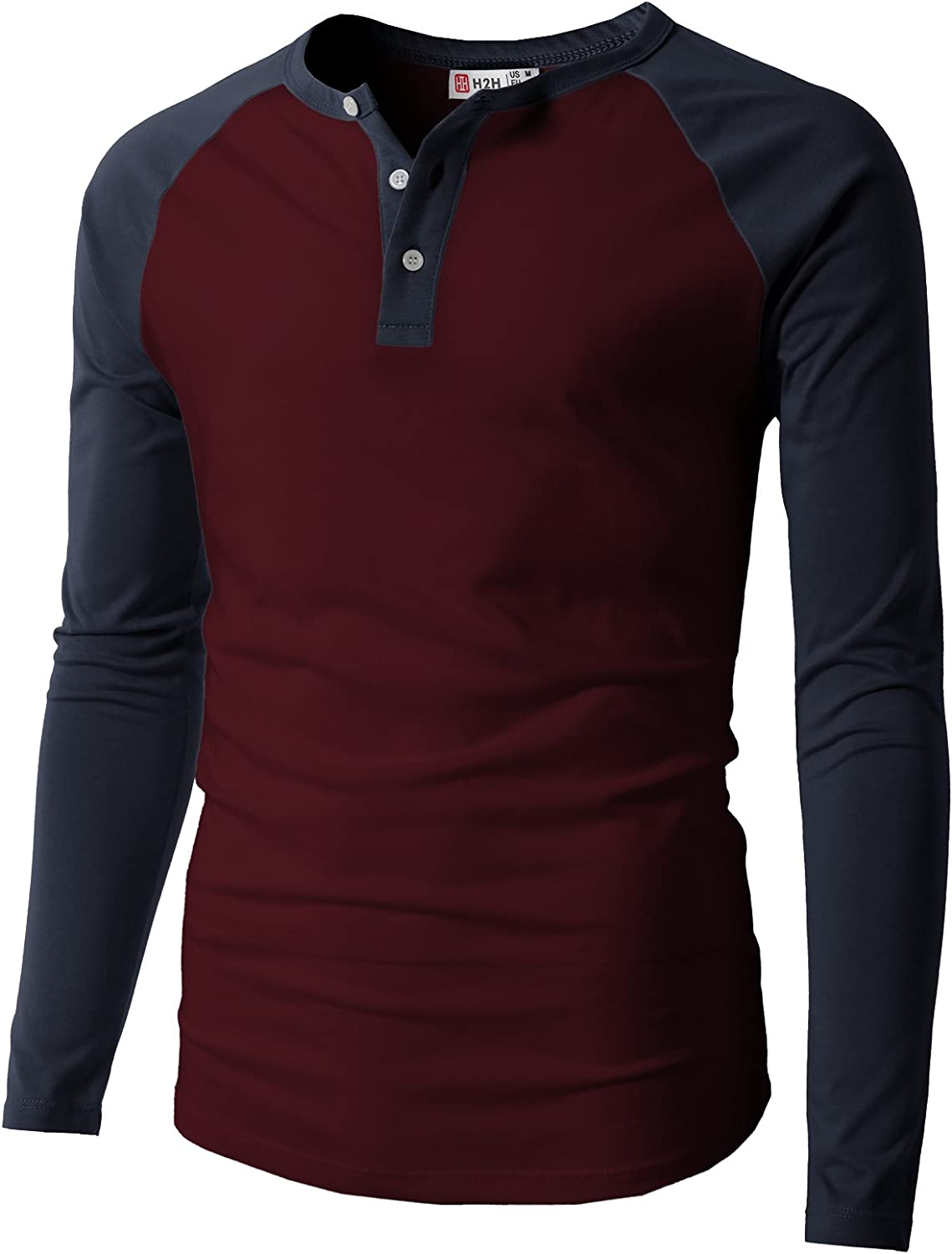H2H Mens Casual Premium Slim Fit T-Shirts Henley Long /& 3//4 Sleeve Summer Clothes