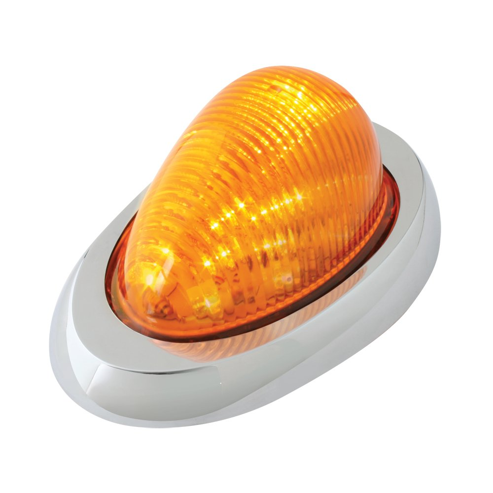 Grand General 76372 Amber Oval 12-LED Side Marker and Turn Signal Sealed Light with Chrome Bezel for Freightliner Century/Columbia