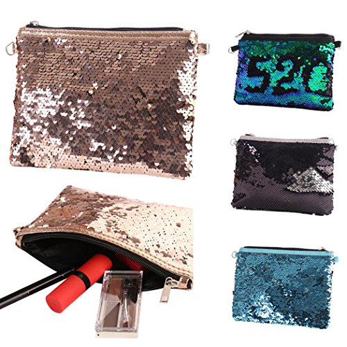 Pouch Sanwood Clutch Black Large Sequin Makeup Strap Women Silver Capacity Black Handbag Bag Silver Cosmetic Bling rnSvxqr