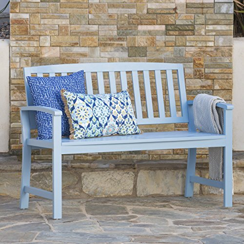 Great Deal Furniture Lolo Outdoor Light Blue Finished Acacia Wood Bench