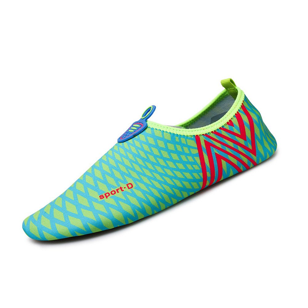 Humasol Men Women's Lightweight Quick-Dry Aqua Shoes Multifunctional Water Socks for Swim Beach Pool B073WTK873 US Women:5-6 (EU 35-36)|Check-Light blue