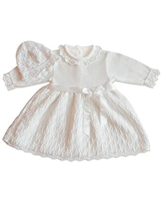 Boutique-Magique Robe de baptême Blanche + Bonnet bébé Fille  Amazon ... 7f65b32f15f